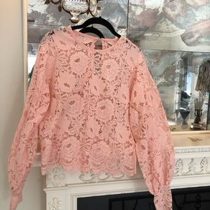 Tops - Peach lace blouse